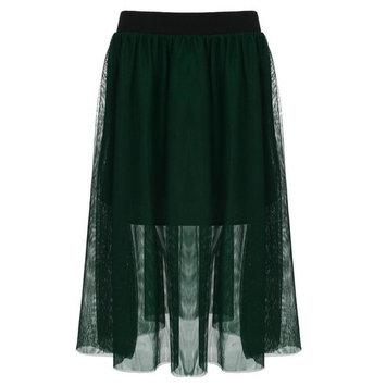 Christmas Clearance! Women Elastic Waist Mesh Ballet Layered Mesh Tulle Midi Skirt Plus Size Margot