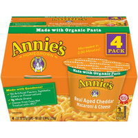 Annie's Real Aged Cheddar Single Serving Microwavable Macaroni & Cheese Cup 4 ct
