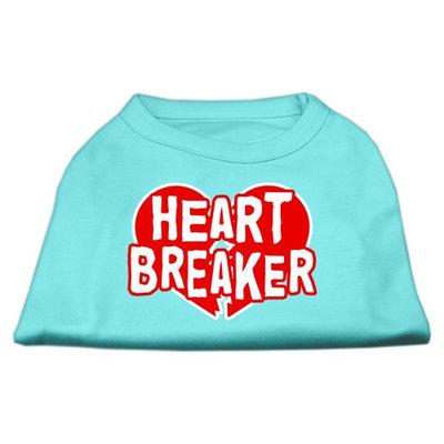 Mirage Pet Products 5154 SMAQ Heart Breaker Screen Print Shirt Aqua Sm 10