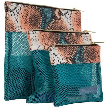 Aimee Kestenberg Designer Printed 3 Piece Accessory Mesh Zipper Pouches Blue Apricot Snake - Aimee Kestenberg Packing Aids