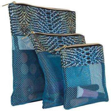 Aimee Kestenberg Designer Printed 3 Piece Accessory Mesh Zipper Pouches Water Python - Aimee Kestenberg Packing Aids