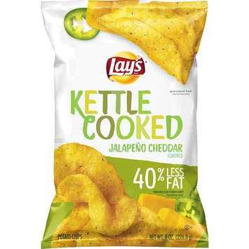 Frito Lay Lay's Kettle Cooked 40% Less Fat Jalapeno Cheddar Potato Chips 8 oz