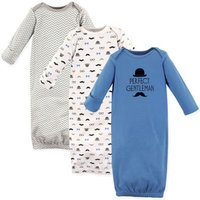 Hudson Baby Boy Gowns, 3-pack