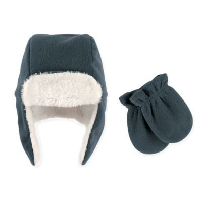 Hudson Baby Toddler Boy Traper Fleece Hat & Mittens 2pc Set