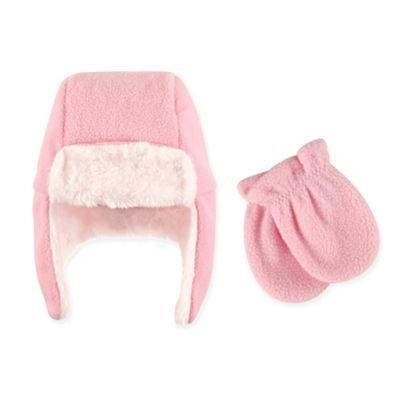 Hudson Baby Girl Traper Fleece Hat & Mittens 2pc Set
