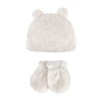 Hudson Baby Toddler Boy Sherpa Hat & Mittens 2pc Set