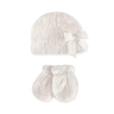 Hudson Baby Girl Sherpa Hat & Mittens 2pc Set