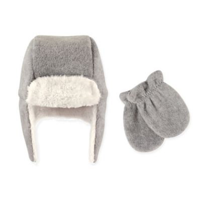 Hudson Baby Toddler Unisex Traper Fleece Hat & Mittens 2pc Set