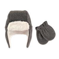 Hudson Baby Unisex Traper Fleece Hat & Mittens 2pc Set