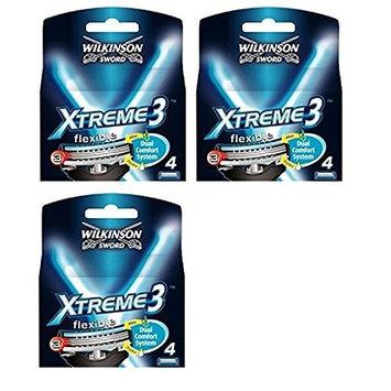 Wilkinson Sword Xtreme3, 4 Count Refill Razor Blades (Pack of 3) + FREE LA Cross 71817 Tweezer
