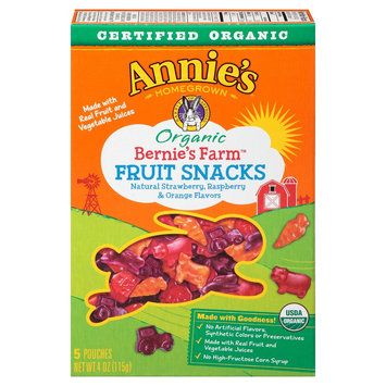 Annie's Homegrown Organic Bernie's Farm Fruit Snacks 0.8 oz 5 ct