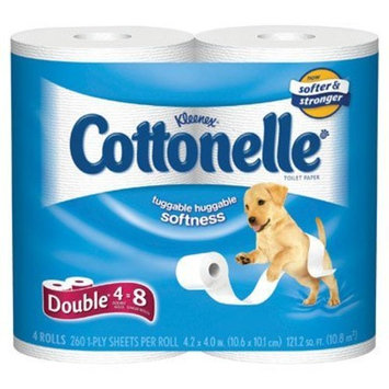 Cottonelle Double Roll (2X Regular), 1 Ply, White-4pk