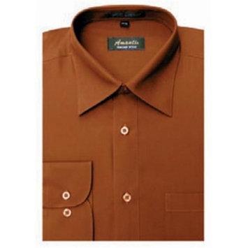 Amanti CL1018-14 1-2x32-33 Amanti Mens Wrinkle Free Rust Dress Shirt - Rust-14 1-2 x 32-33