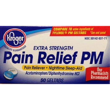 Kroger Acetaminophen PM, 50 caplets, Extra Strength Pain Reliever Pills, Compare to active ingredient in Tylenol PM Caplets