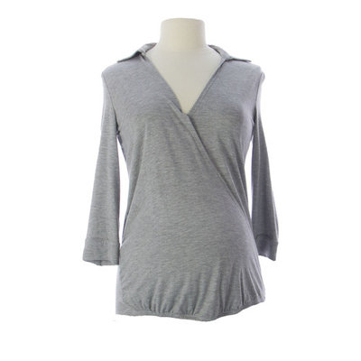 JULES & JIM Maternity Women's Wrap Front Collared Blouse Medium Grey