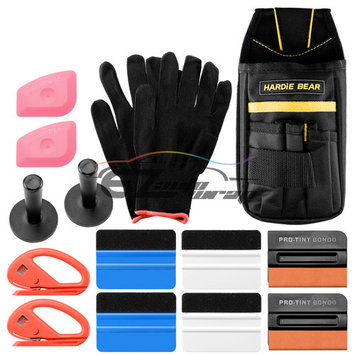 Professional Vinyl Wrap Window Tint Film Application Tool Kit Scratch Free Pro Tint Felt Squeegees Lil Chizlers Gloves Tool Bag Snitty Cutter Razor Magnets TK08