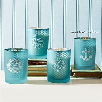 Seaside Filled Soy Candle with Rhinestones and Fresh Sea Breeze Scent - Anchor