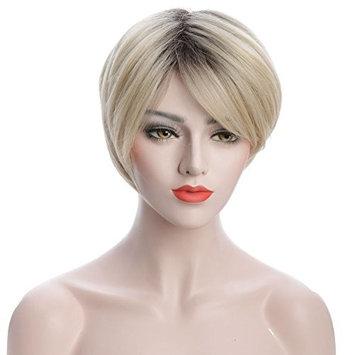 Karlery Women Short Bob Fluffy Blonde Dark Root Dyed Straight Wig Costume Halloween Wig Cosplay Party Wig