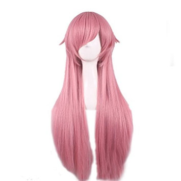 Rise World Wig Gasai Yuno Woman Long Pink Straight Cosplay Costume Wig Party
