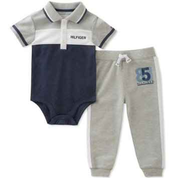 Tommy Hilfiger 2-Pc. Polo Bodysuit & Jogger Pants Set, Baby Boys (0-24 months)