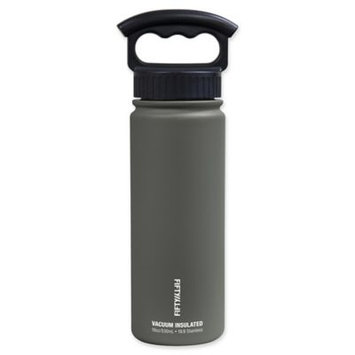 Vacuum Insulated Water Bottle with Three-Finger Grip Lid (18 oz, Slate Grey) by FiftyFifty