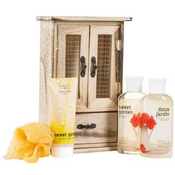 Freida & Joe Sweet Garden Bath and Body Gift Set in Natural Wood Curio