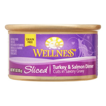 Wellness Pet Food Wellness Sliced Grain-Free Turkey & Salmon Dinner Wet Cat Food, 3 oz (Pack of 24)