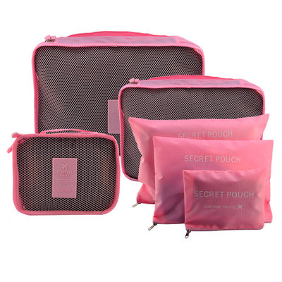 6Pcs Waterproof Travel Storage Bags Packing Cube Clothes Pouch Luggage Organizer - Pink