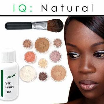 iQ Natural Mineral Makeup Starter Kit – Powder Brush, Silk Primer, Mineral Foundation , Setting Veil , Bisque Concealer, Bronzer + Eye Shadow for Flawless Bare Looking Skin, Full Set (Dark)