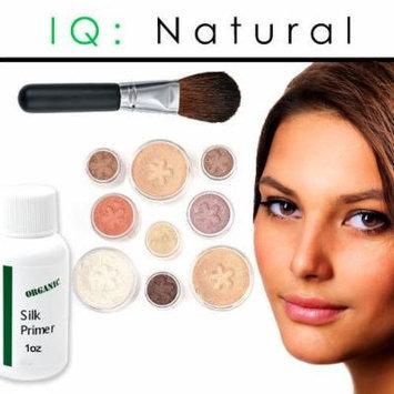 iQ Natural Mineral Makeup Starter Kit – Powder Brush, Silk Primer, Mineral Foundation , Setting Veil , Bisque Concealer, Bronzer + Eye Shadow for Flawless Bare Looking Skin, Full Set (Medium Tan)