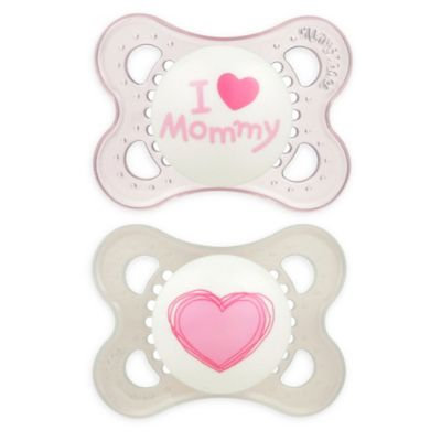 MAM Love and Affection I Love Mommy Silicone Pacifier - Pink - 0 - .