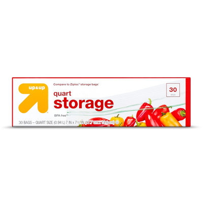 Double Zipper Quart Storage Bags - 30 ct - up & up, Red