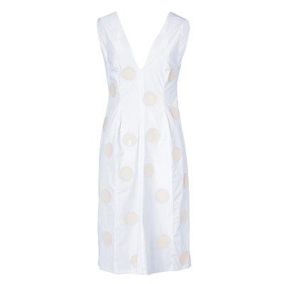 White Stretch Cotton Dress with Dot Applique