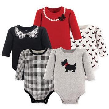 Hudson Baby Girl Long Sleeve Bodysuits, 5-pack