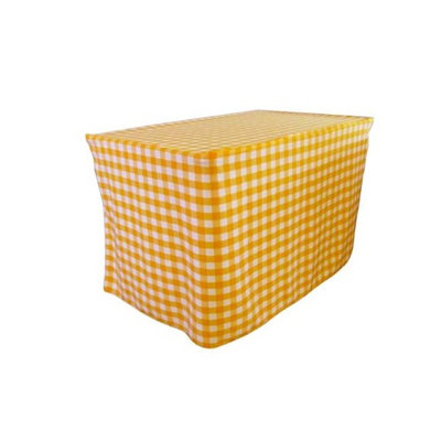 LA Linen TCcheck-fit-48x30x30-DrkYellowK47 Fitted Checkered Tablecloth White & Dark yellow - 48 x 30 x 30 in.