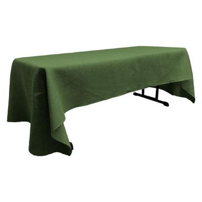 LA Linen TCBurlap60x84-GreenHunter Rectangular Dyed Natural Burlap Tablecloth Hunter Green - 60 x 84 in.
