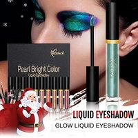 Metallic Eyeshadow,vmree 17 PC Christmas Smoky Eyes Eyeshadow Waterproof Glitter Liquid Eyeliner