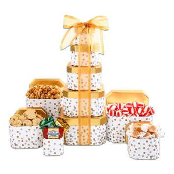 Alder Creek Gift Baskets Chocolate, Candy & Popcorn filled Alder Creek Holiday Gift Basket Gold Tower, 5 pc