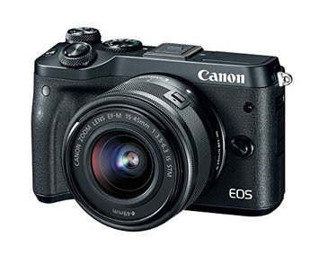Canon M6 EOS 24.2MP Mirrorless Digital Camera with EF-M 15-45mm IS STM Lens (Black)