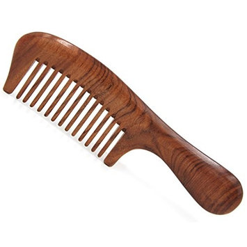 Handmade Premium Quality Whole Piece Natural Wooden Massage Comb, No Static Seamless Wide Tooth Wooden Hair Comb with Handle 7.6