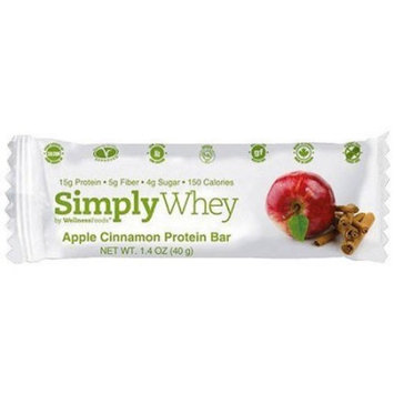 WellnessFoods Simply Whey Apple Cinnamon Nutrition Bars, 1.4 oz, 12 count