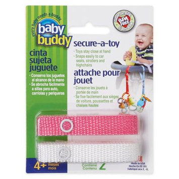Baby Buddy Secure-A-Toy, Safety Strap Secures Toys, Teether, or Pacifiers to Strollers, Highchairs, Car Seats - , , ½Adjustable Length to Keep Toys Sanitary Clean Pink-White 2 Count