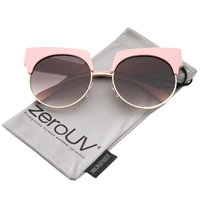 zeroUV - Oversize Bold Brow Wide Temple Round Lens Half-Frame Cat Eye Sunglasses 57mm - 57mm