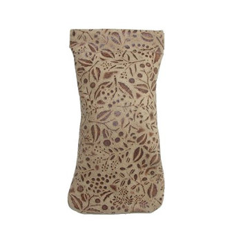 CTM Womens Leather Floral Print Eyeglass Holder and Case
