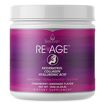 Collagen Peptides Hydrolysate Proteins Powder - with Resveratrol, Hyaluronic Acid, Vitaberry| Paleo Friendly, Grass Fed, and Antioxdiant Boost | Strawberry Lemonade Flavor - RevAge (0.22LB)