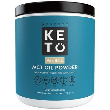 Perfect Keto MCT Oil Powder: Vanilla Ketosis Supplement (Medium Chain Triglycerides, Coconuts) for Ketone Energy. Paleo Natural Non Dairy Ketogenic Keto Coffee Creamer