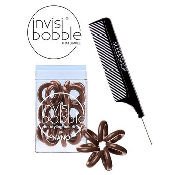 Invisibobble NANO BROWN The Styling Hair Ring (3 rings), (with Sleek Steel Pin Tail Comb) (NANO, BROWN)