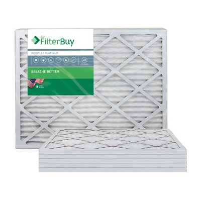 AFB Platinum MERV 13 24x25x1 Pleated AC Furnace Air Filter. Filters. 100% produced in the USA. (Pack of 6)