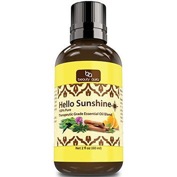 Beauty Aura Hello Sunshine Essential Oil Blend (2 Oz.)- Therapeutic Grade - Carefully crafted blend of bright and refreshing essential oils known for their uplifting properties