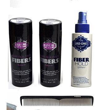 Bundle 4 Items: 2x Piz-zaz Hair Building Fibers+ Hold Spray + hairart Handmade ionic carbon comb (AUBURN)
